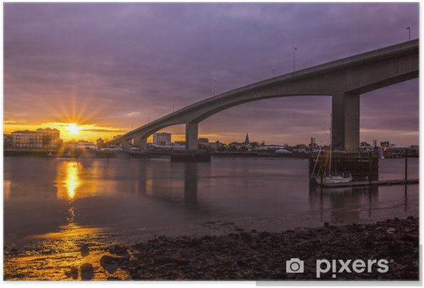 Solnedgang i Southampton's Itchen Bridge Plakat - Europa