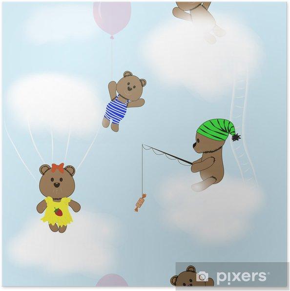 6dbd6945 Plakat Sømløs baby mønster med bamser • Pixers® - Vi lever for ...