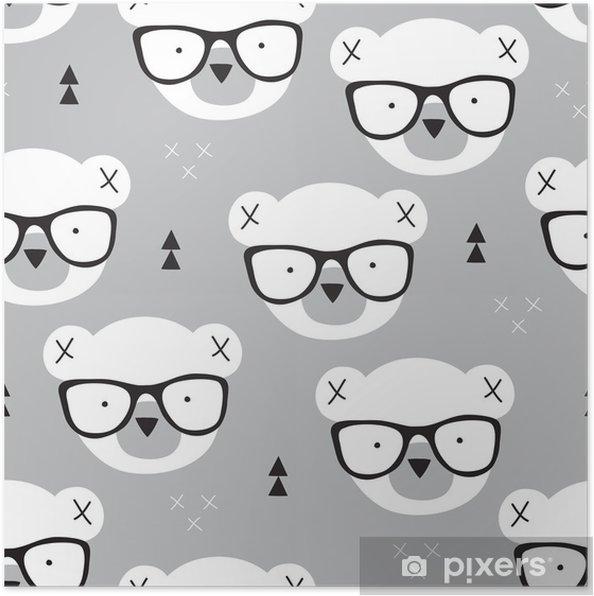 66a6aabc Plakat Sømløs bamse mønster vektor illustrasjon • Pixers® - Vi lever ...