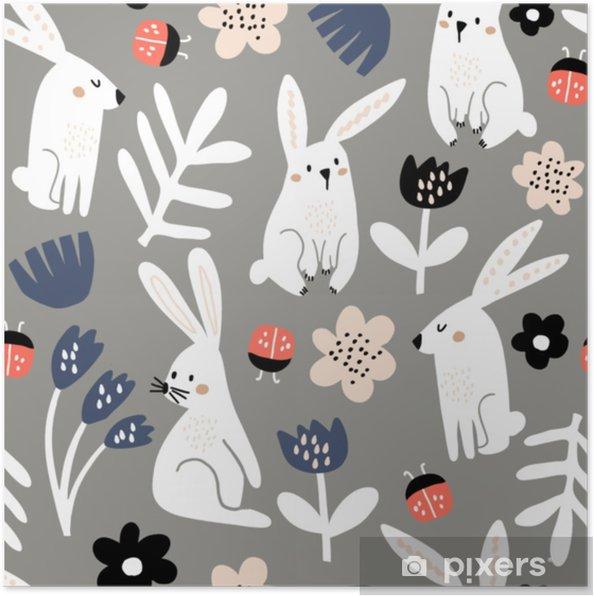 d44f829ef Plakat Sømløs barnslig mønster med rosa kanin, blomster, nyfrokost.  kreative skandinaviske barn tekstur for stoff, innpakning, tekstil, tapet,  ...