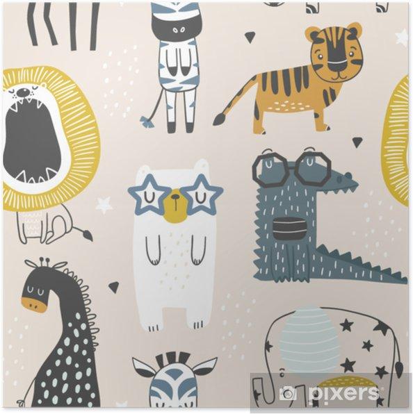 9dc789329 Plakat Sømløs barnslig mønster med søte dyr i svart og hvit stil. kreative  skandinaviske barn tekstur for stoff, innpakning, tekstil, tapet, ...