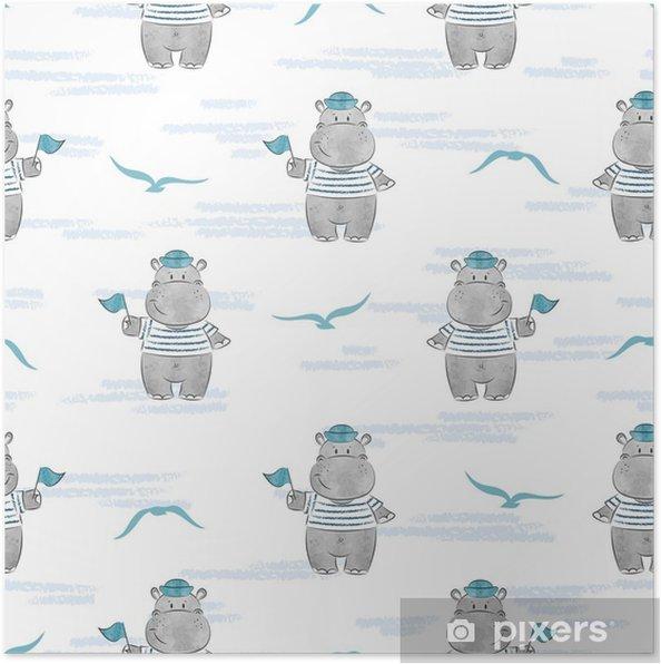 5118ae17 Plakat Sømløs mønster med flodhest sjømann. marine vektor bakgrunn for barn  design. - Dyr