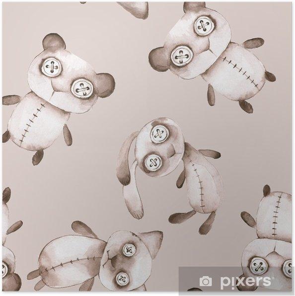 cbe3c94a Plakat Sømløs mønster med håndlagde leker. akvarell skumle bamse, bunny og  katt - Grafiske