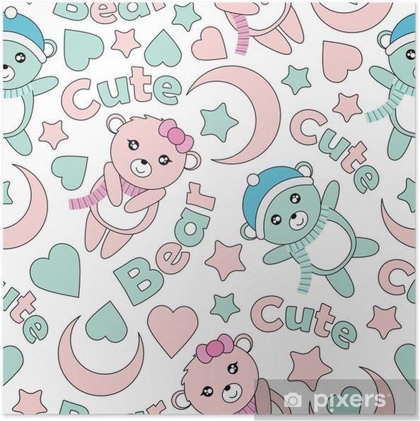 94439497 Plakat Sømløs mønster med søte baby bjørn, månen og stjerner vektor  tegneserie egnet for barn