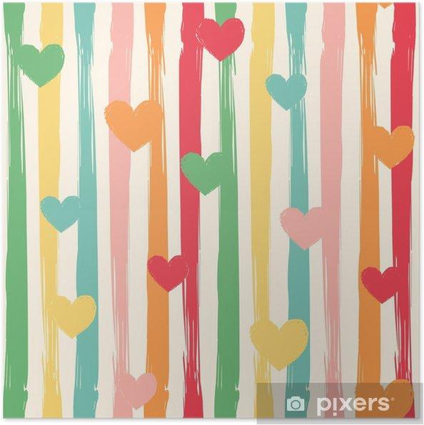 4fd438fe Plakat Sømløs vektor mønster med abstrakte striper og hjerter i retro farger .