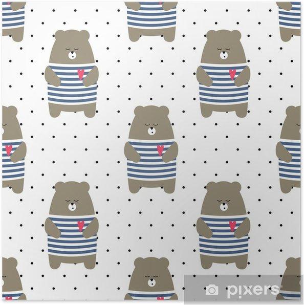 d54907fd Plakat Søt bjørn sømløs mønster på polka dots bakgrunn. tegneserie parisisk  bamse vektor illustrasjon. barn tegning stil dyr bakgrunn. design for  stoff, ...