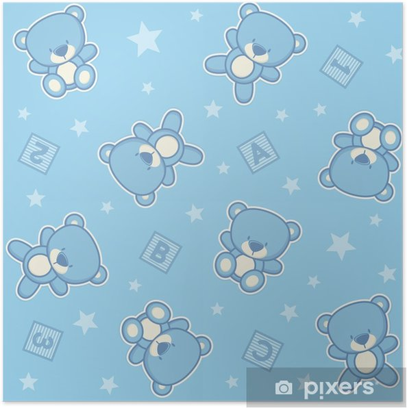 b59ff0ab Plakat Søt nalle bjørn sømløs bakgrunn med stjerner og alfabetiske kuber,  design for baby gutt og barn