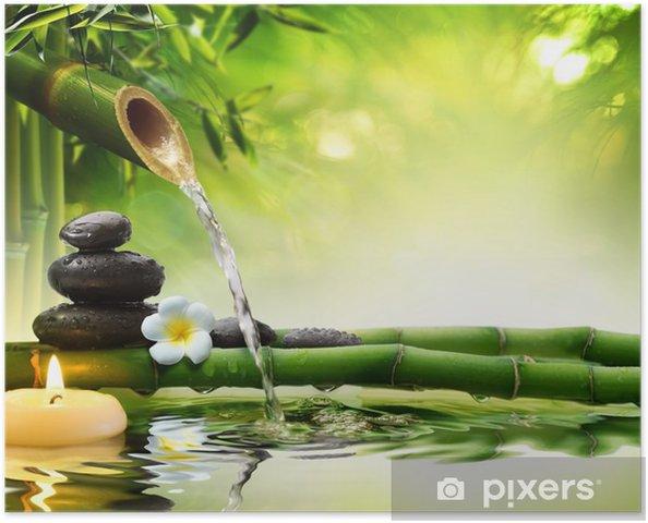 Spa sten i haven med flow vand Plakat -