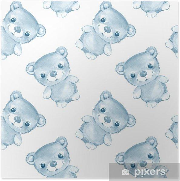 704e6cf5 Plakat Teddybjørn. akvarell sømløs mønster 2 • Pixers® - Vi lever ...