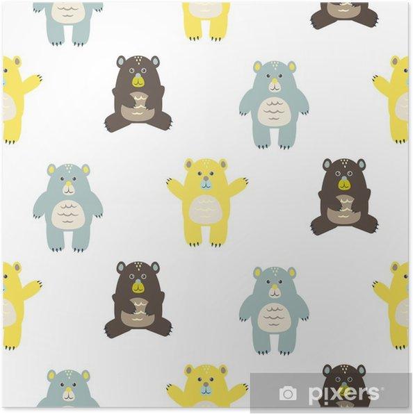 b2cda9f6 Plakat Tegneserie moro baby bjørner sømløs mønster. Baby gul, brun og blå  bjørner bakgrunn.