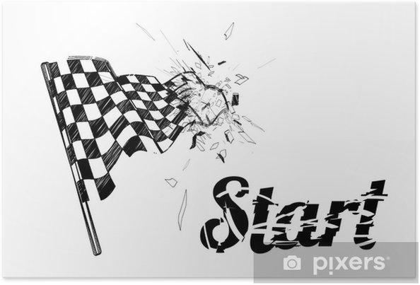 Tegning Rutet Flag I Den Dynamiske Stil Plakat Pixers Vi Lever