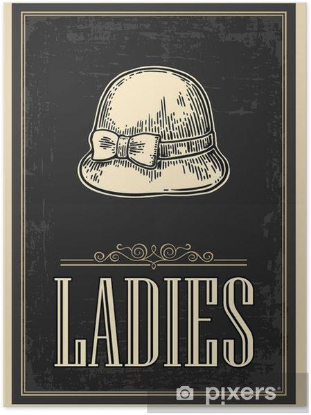 Toilet retro vintage grunge plakat. Damer. Vektor vintage indgraveret illustration på en sort baggrund. Til barer, restauranter, caféer, pubber Plakat - Grafiske Ressourcer