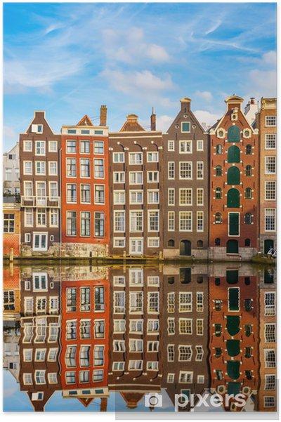 Traditionelle hollandske bygninger, Amsterdam Plakat -