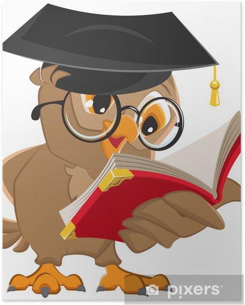 403817c9 Ugle læser en bog Plakat • Pixers® - Vi lever for forandringer