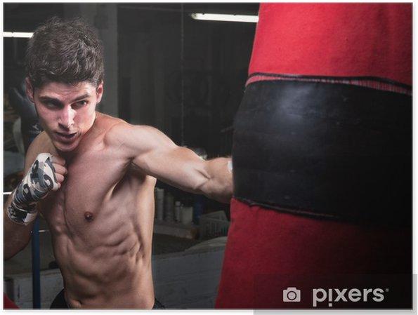 efe08e6d Plakat Ung kaukasisk Boxer trening med en pose pose • Pixers® - Vi ...