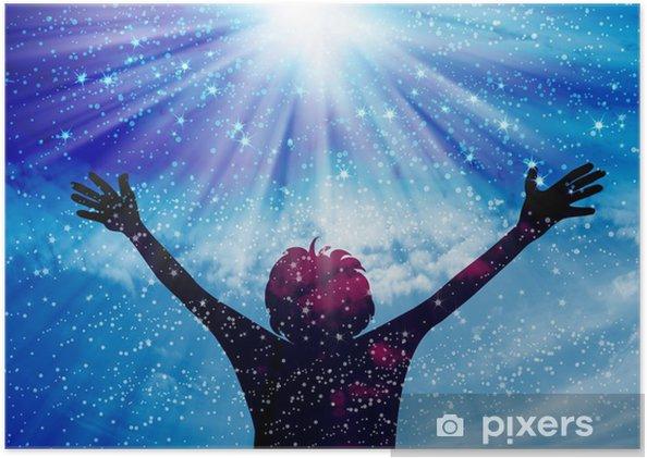 a242f30d Plakat Ung mann tilbe og ros til Gud • Pixers® - Vi lever for forandring