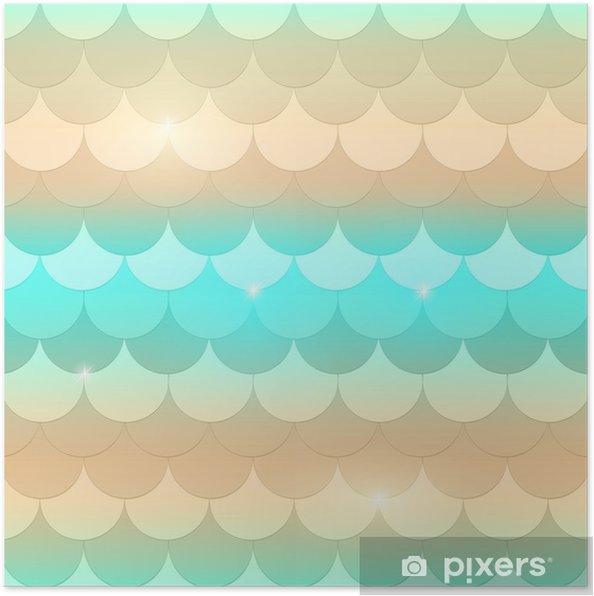 79e0ef6a Plakat Vakker havfruehale, fisktekstur i pastell, myke farger, beige, aqua  grønn (mink) og blå med gnister og glød. sømløs havfrue mønster