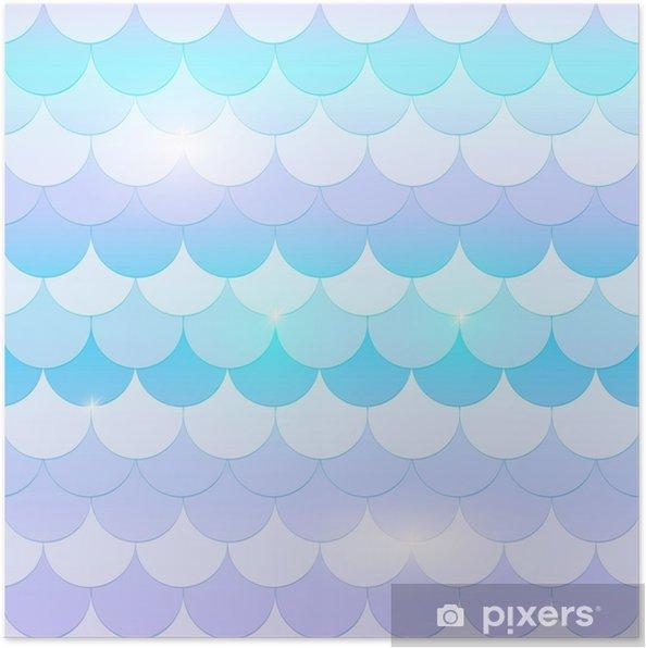 358bdb72 Plakat Vakker havfruehale, fisktekstur i pastell, myke farger, blå, rosa og  lilla med gnister og glød. sømløs havfrue mønster