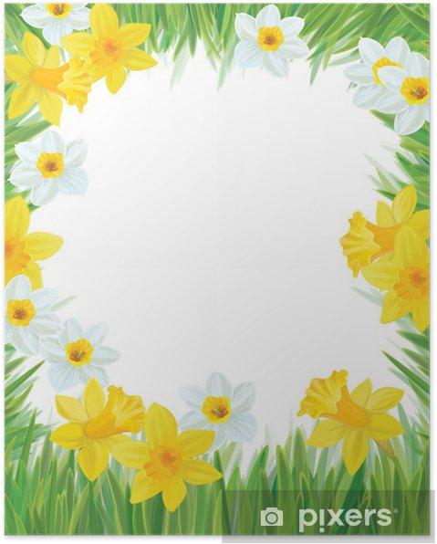Vektor af påskelilje blomster ramme til forår, påske ...