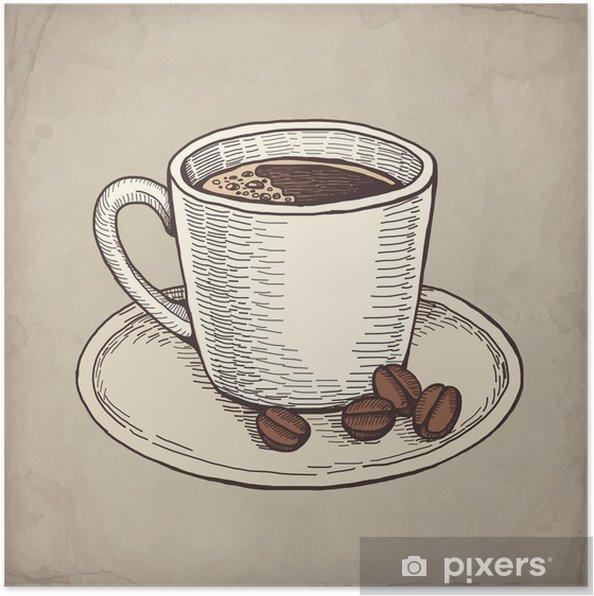 506dd779 Plakat Vektor hånd trukket illustrasjon av kaffe kopp • Pixers® - Vi ...