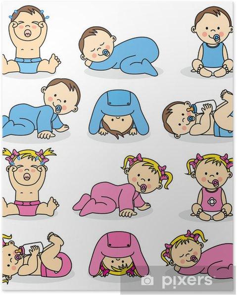 5e0ec7fc610 Vektor illustration af baby drenge og baby piger Plakat • Pixers ...