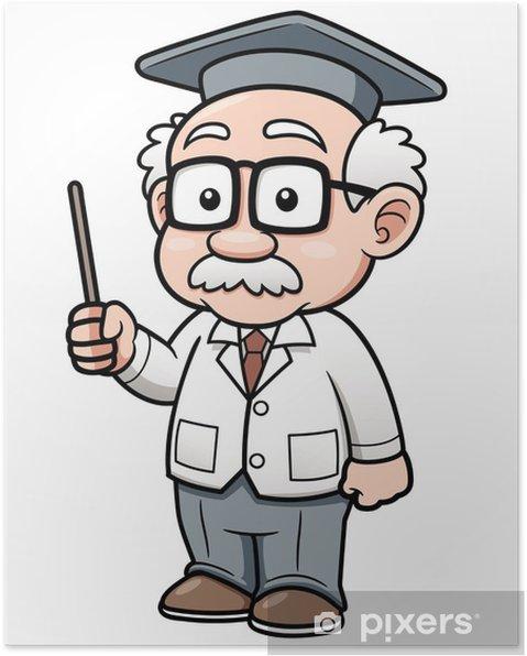 cde35888 Vektor illustration af tegneserie professor Plakat • Pixers® - Vi ...