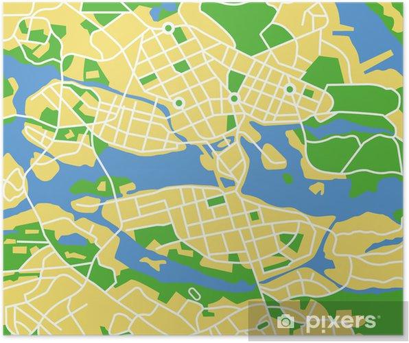 Plakat Vektor Kart Over Stockholm Pixers Vi Lever For Forandring