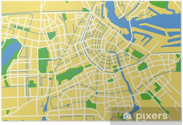 Vektor Kort Over Amsterdam Plakat Pixers Vi Lever For