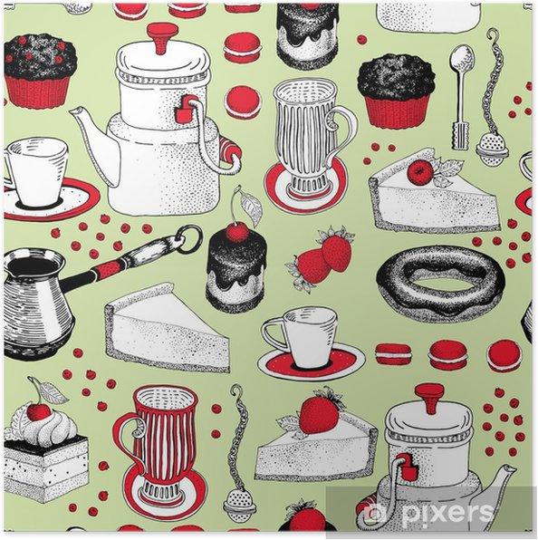 6ff9b1ef Plakat Vektor sømløs mønster med hånd trukket te og kaffe og dessert  illustrasjoner. kan brukes til bakeri, bakverk, kafé, butikk og produkter.