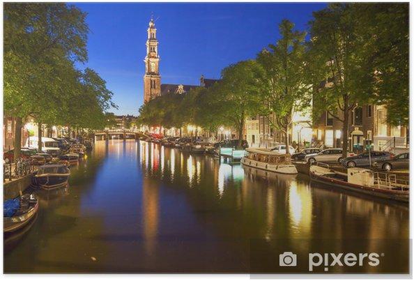 Vestkirke på Prinsengracht-kanalen i Amsterdam Plakat - Europa