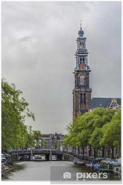 Vestkirken i Amsterdam, Holland. Plakat - Europæiske Byer