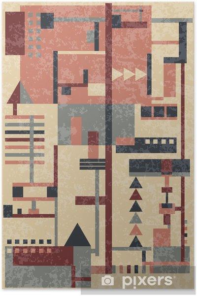 Vintage baggrund med geometriske figurer Plakat - Grafiske Ressourcer