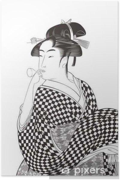 Plakát 喜 多 川 歌 麿 婦女 人 相 十 品 ビ ー ド ロ を 吹 く 娘 イ メ ー ジ イ ラ ス ト - Lidé