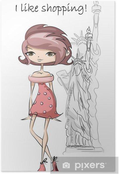 Plakát Мультфильм модные девушки в США, фон - Móda