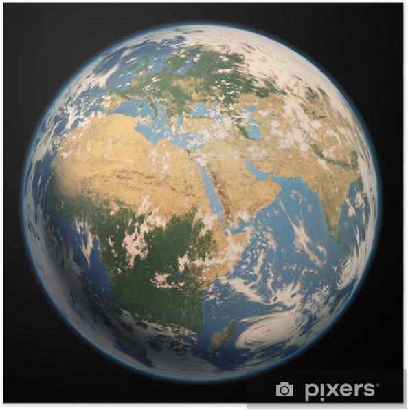 Plakát ヨ ー ロ ッ パ · ア フ リ カ · 中東 の 見 え る 地球 雲 有 り - Země