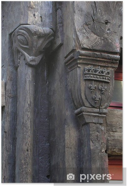 Plakat 0307-rzeźbione belki - Dom i ogród