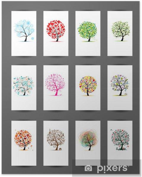 Plakat 12 karty ze wzorem drzew. Sezon wakacyjny - Moda