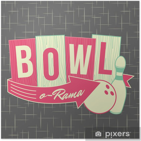 Plakat 1950 Logo Design Style Bowling - Moda
