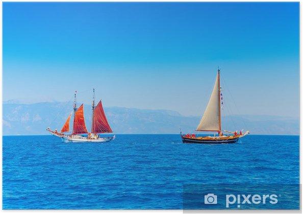 Plakat 2 Stare klasyczne drewniane Łodzie wyspie Spetses w Grecji - Sporty wodne