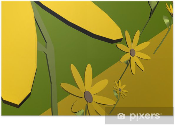 Plakát 3D Blumen Ilustrace - Značky a symboly