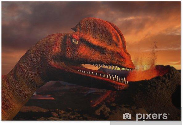 Plakat 3d dinozaur wulkan - Tematy