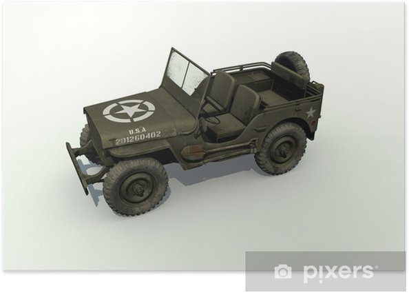 Plakát 3D Isolated Willys Jeep - Na cestě