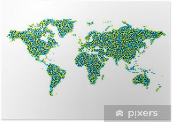 Plakat 3d Mapa Sveta Z Kostek Pixers Zijeme Pro Zmenu