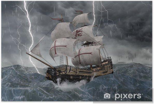 Plakat 3D Żaglówka Galleon w burzliwym morzu - Transport wodny