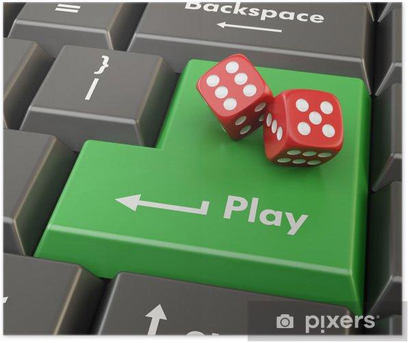 Plakat 3d Zielony Przycisk Z Czerwoną Kostkę Gry Online Pojęcie