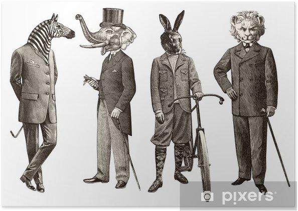 Plakát 4 zvířata muži - Muži