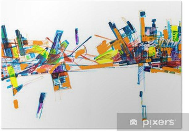 Plakat Abstract city skyline painting - Koncepcje biznesowe