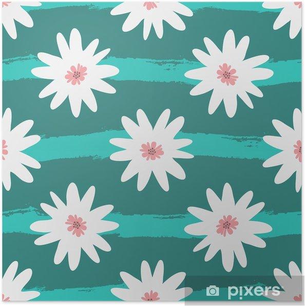 Plakat Abstrakcjonistyczni biali kwiaty na pasiastym turkusowym tle. grunge, szkic, akwarela. - Rośliny i kwiaty