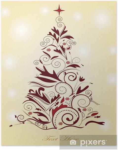 Plakat Abstrakcyjna choinki z dekoracjami i miejsca na tekst - Święta międzynarodowe