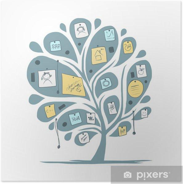 Plakat Abstrakcyjna drzewa z notatek do projektowania - Pokój
